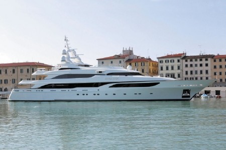 The 211-foot Benetti yacht has accommodation for 12 guests in seven cabins, ...