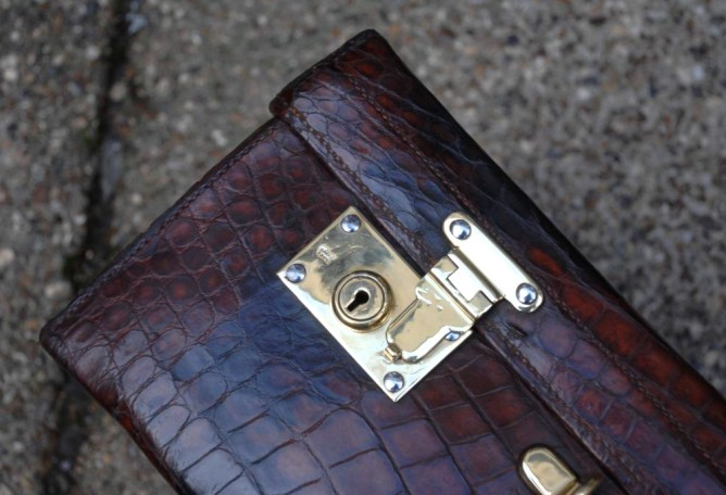 Detail of vintage alligator case