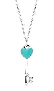 Heart key charm with Tiffany Blue® enamel finish in sterling silver