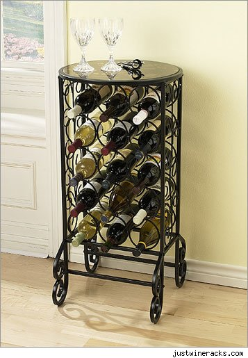 A nice wine rack filled with bottles of wine.