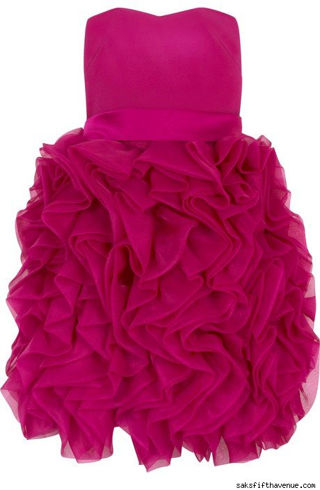 Strapless Silk Ruffle Dress