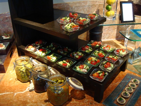 A Club Level Lounge spread