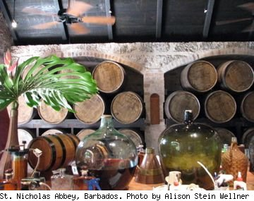 Photo of rum barrels stored at St. Nicholas Abbey, Barbados