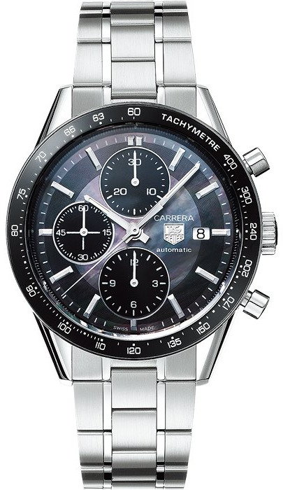 tag heuer carrera black mother of pearl watch