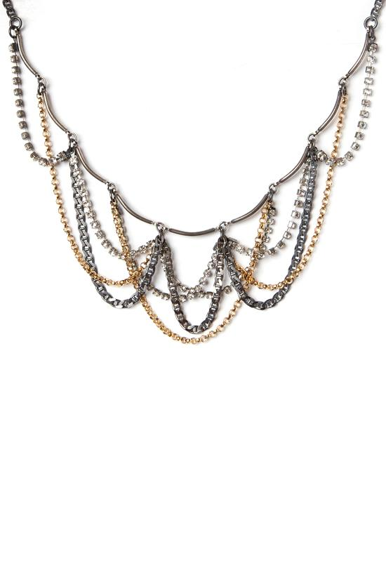 DRAPED RHINESTONE, SILVER & GOLD NECKLACE 17