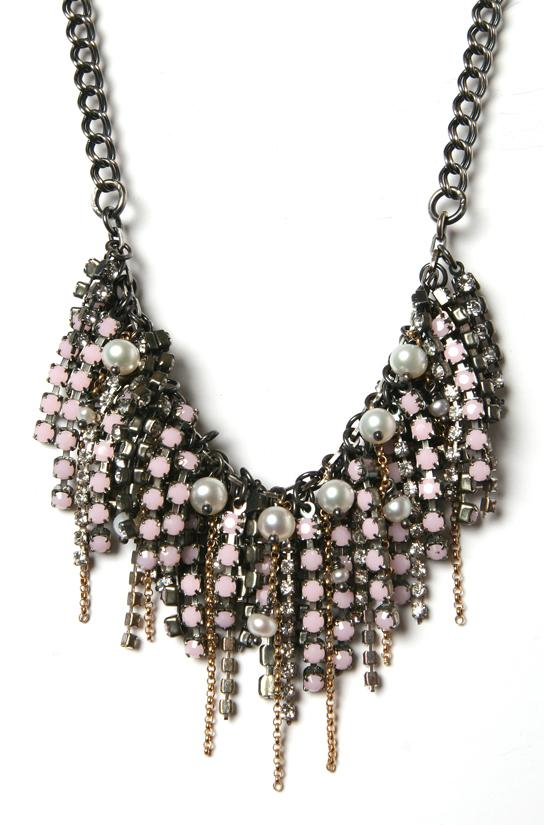 PINK RHINESTONE &amp; PEARL FRINGE NECKLACE