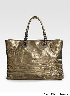 Bottega Veneta Metallic Leather Shopper Bag