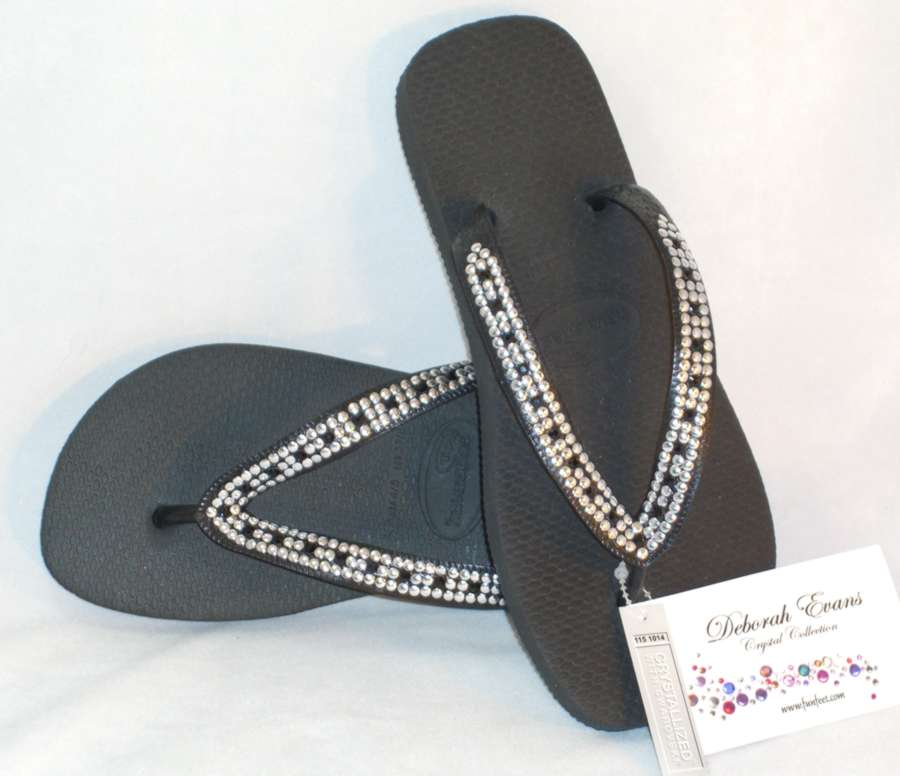 Swarovski Crystal Embellished Flip Flops - Small Splurge