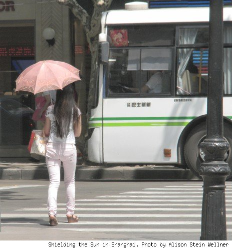 photo of a woman with a parasol in shanghai