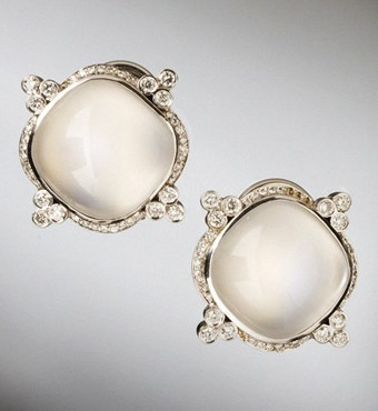 S.H. Silver Company 18kt White Gold Moonstone and Diamond Earrings