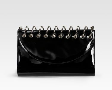 black patent clutch