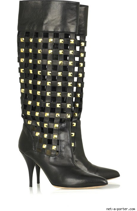 Oscar de la Renta Checker Leather Boots