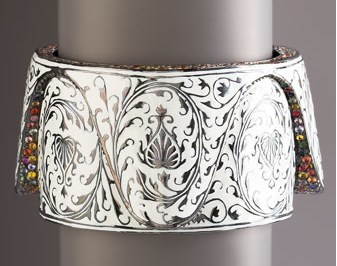   Matthew Campbell Laurenza Wide Scrolled Enamel Cuff  ($1,950)