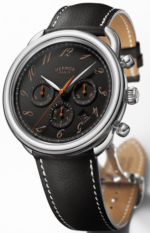 Hermes Acreau Ebony Chronograph Watch