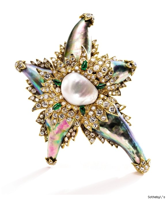 Star-Shaped Pearl and Diamond Brooch by David Webb