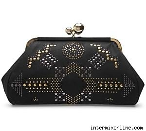 Stella McCartney Studded Faux Suede Clutch