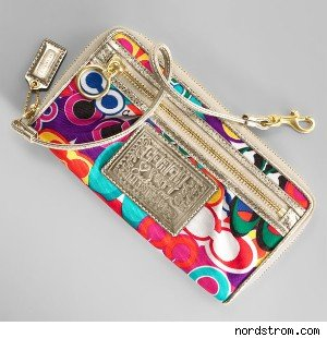 Coach Poppy Signature Zip Around Wallet