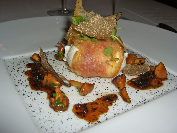 Ciabatta wrapped crispy egg with Parma ham, girolles and summer truffles at Les Amis
