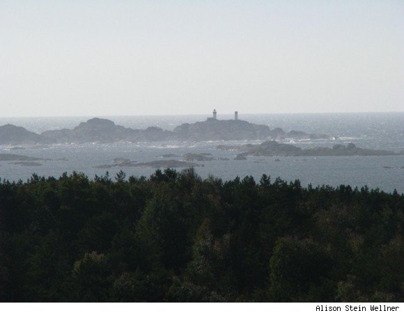 Distance view of two restored lighthouses