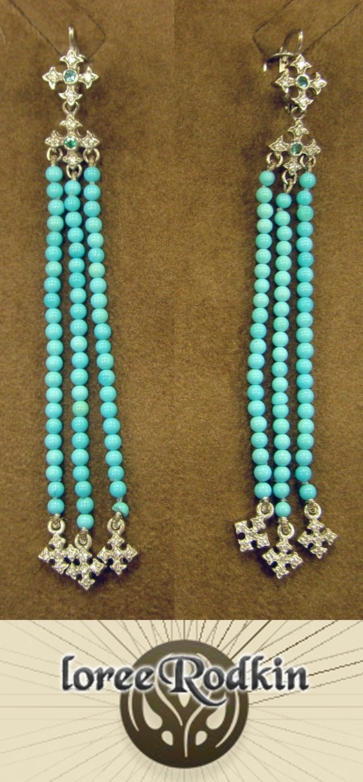 FANCY-CROSS TURQUOISE DANGLE EARRINGS