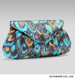 Lauren Merkin Lotte Feather-Print Clutch
