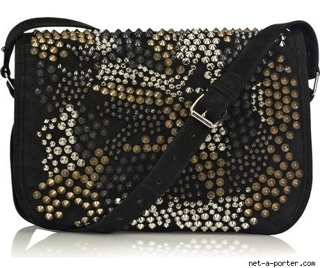 Balmain Punk Suede Studded Handbag