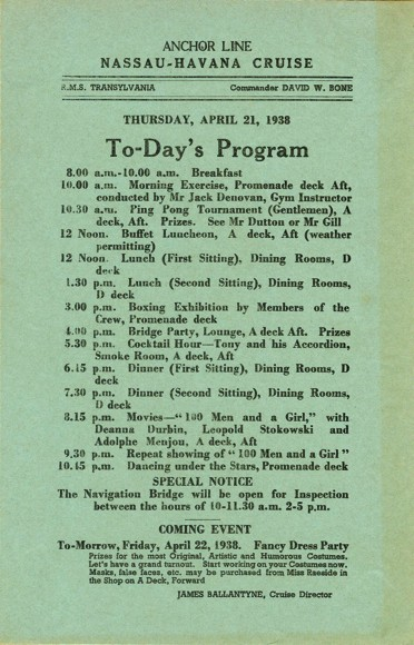 Daily Program on a Cruise to Havana