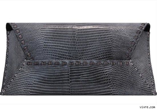 Kelly Locke Pewter Lizard Clutch Handbag