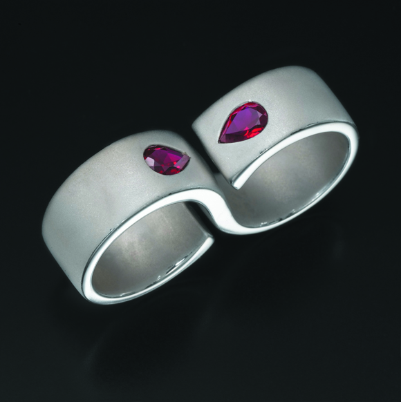 Sandblasted Silver Double Ring with Two Rubies in the Center