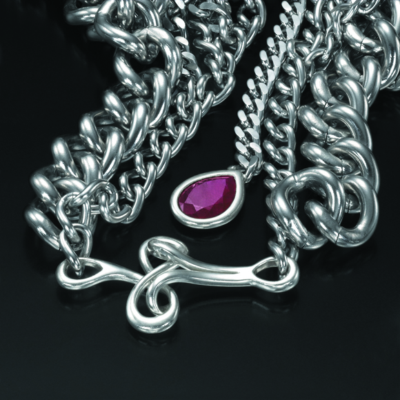 Seven Layer Stainless Steel Chain with Rubies (Clasp)