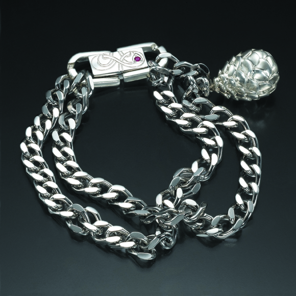Stainless Steel Double Chain Bracelet with Silver Accent