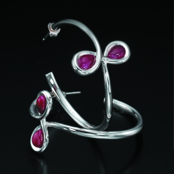 Silver Infinity Hoop Earrings with Rubies