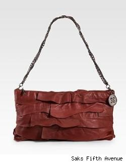BCBGMAXAZRIA Ruffled Leather Clutch