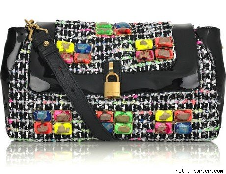 Marc Jacobs Flourescent Tweed Bag :  black flourescent neon white