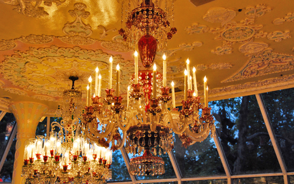 An antique crystal chandelier.