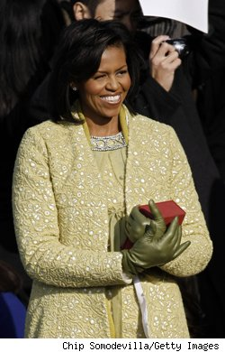 Michelle Obama is radiant in an ensemble of Isabel Toledo, Nina Ricci and Jimmy Choo.
