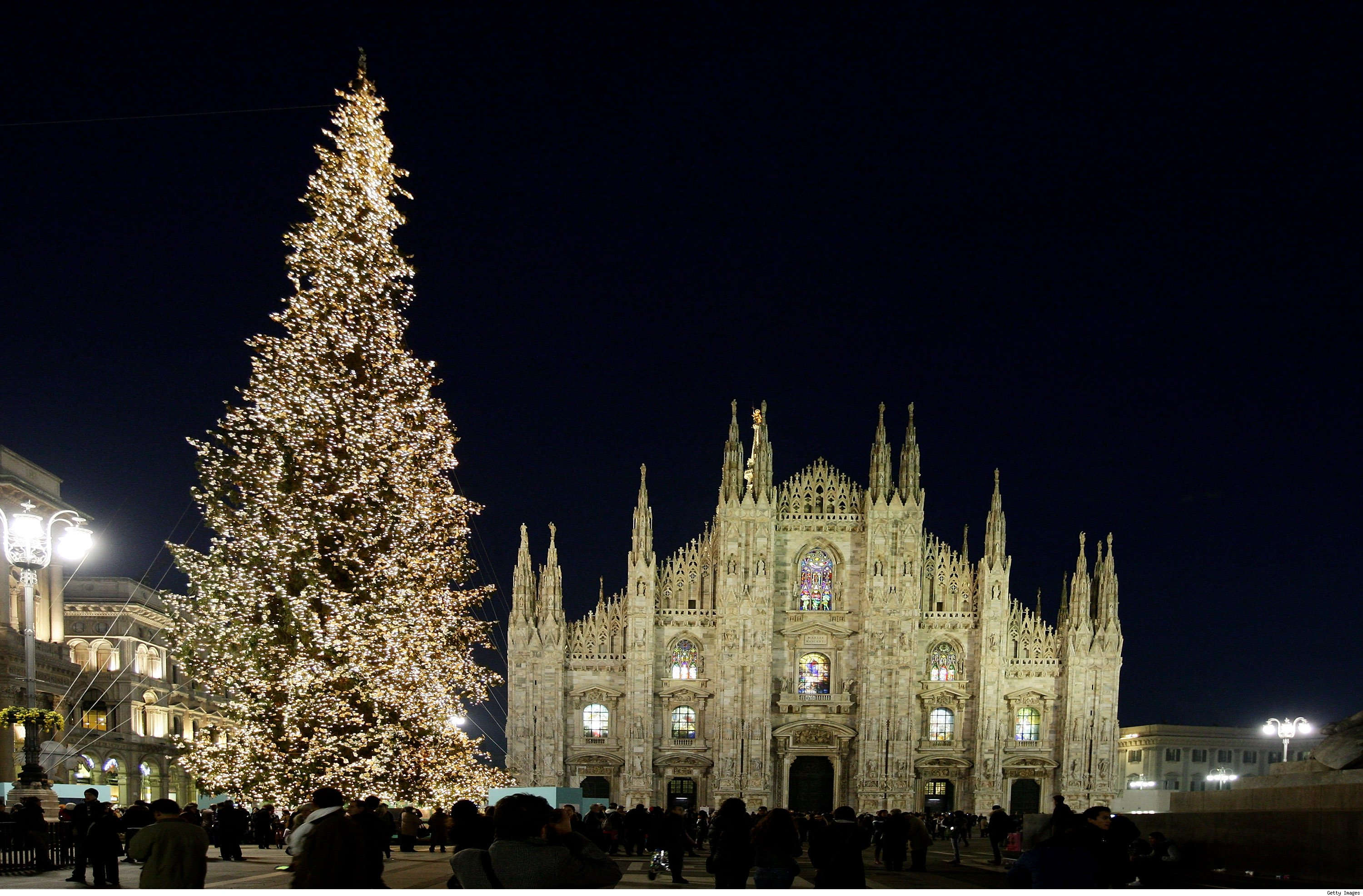 Christmas Tree at Plazza Del Duomo in Milan, Italy
