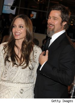 Brad and Ange at the UNICEF Ball on December 10, 2009