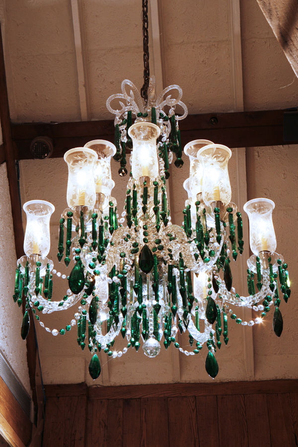 Baccarat Chandelier with Emerald Green Highlights