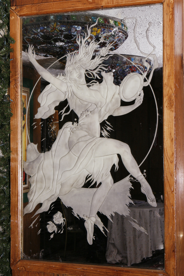 Etched Glass Mirror With Art Deco Dancing Woman