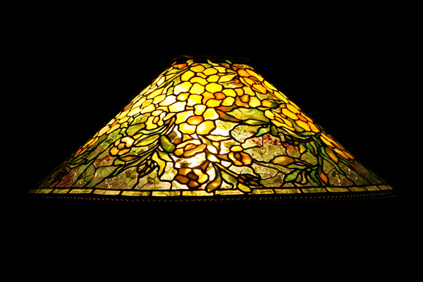 Art Nouveau-Style Tiffany Glass Hanging Lamp