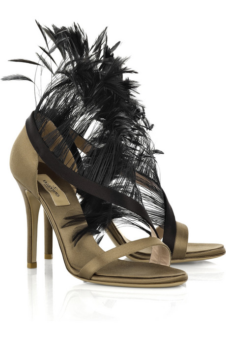 Valentino Feather Trimmed Satin Sandals