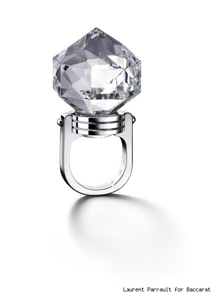 Baccarat's crystal and white gold round ring
