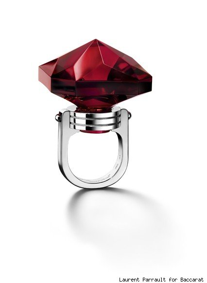 Baccarat's ruby crystal and white gold square ring