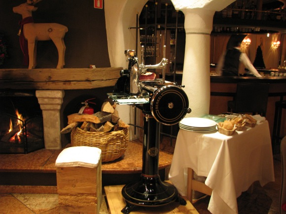 Antique Berkel Prosciutto Slicer in Lobby