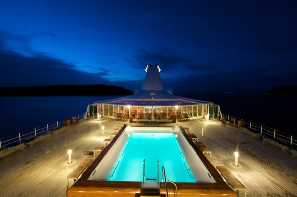 Pool and Deck by Night
