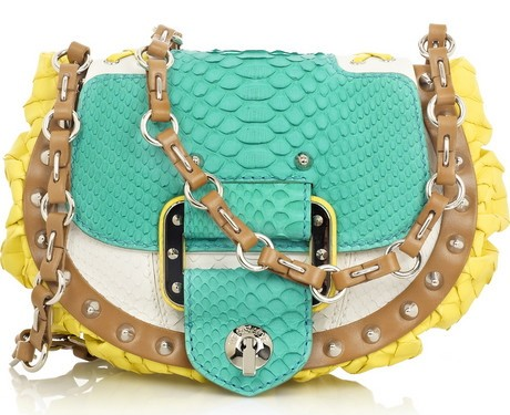 Versace Block Color Python Handbag