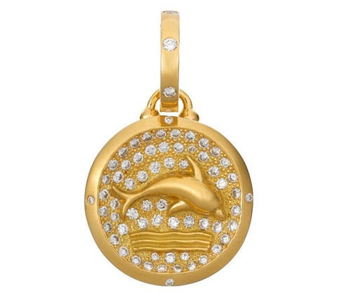 18K Dolphin Pendant with Pave Diamonds