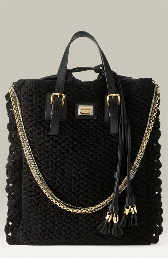 Dolce & Gabbana Miss Helen Crocheted Shopper Handbag