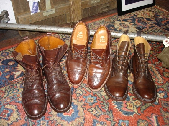 Fowler sells the same boots worn by the Scottish military and displays some that he's already broken in.